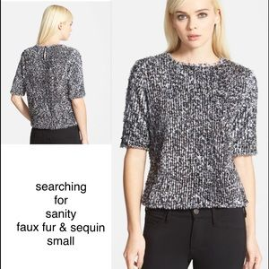 Search for Sanity Faux Fur Sequin Sweater S